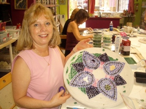 Kaye works on her mandala