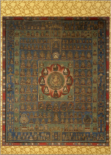 Womb World, one of a pair of 13th-century Japanese hanging scrolls, Mandalas of Both Worlds. Courtesy Brooklyn Museum