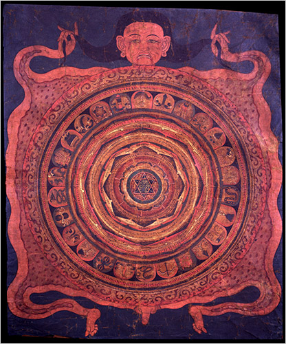 This 18th-century Tibetan sacred diagram, a yantra, is made of cloth with pigments.