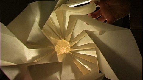 Origami in three lillian sizemores minds eye here is a clip of him folding a 12 fold flower tower some background music would be nice but then you would miss out on all that paper crinkling sound mightylinksfo