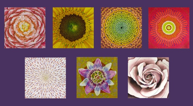 "P.C.Turczyn's Infinite Qualities series of floral mandalas. Her work is also included in ""The Mandala Book"""