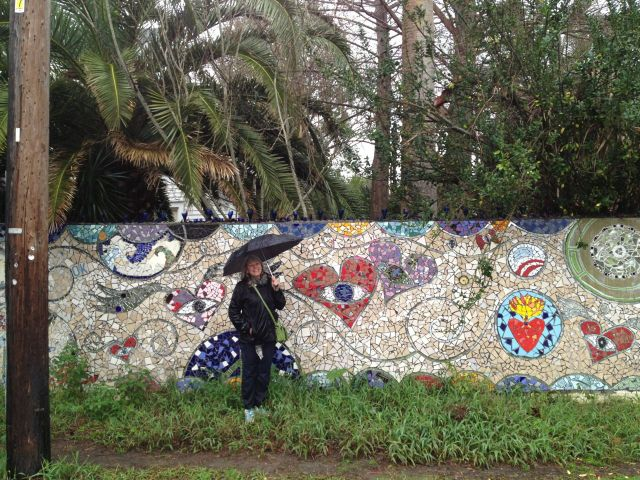 A rainy day in New Orleans, one of Laurel True's community walls