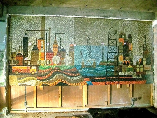 Midcentury Mosaic Mural depicting the Petroleum industry in Los Angeles found behind walls at old Statler Hotel.