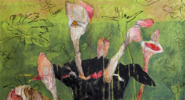 """Baudelaire, 27"""" x 49"""" hibiscus, charcoal and acrylic on canvas 2006"""