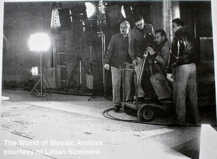 Behind the scenes of The World of Mosaic, filming at the installation of J.L.Young's mosaic mural for Police Facilities Building in Los Angeles, 1956