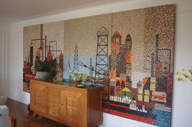 1950s Los Angeles Petroleum Mosaic in Greg Andrews home. photo: Kevin Ferguson/KPCC