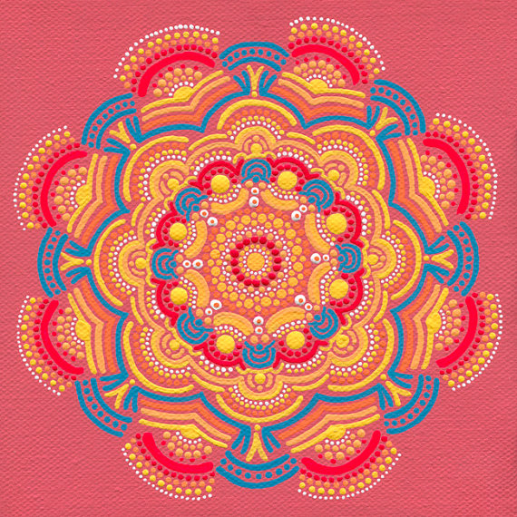 Orange Sun Coral Mandala by Joy Pompeo