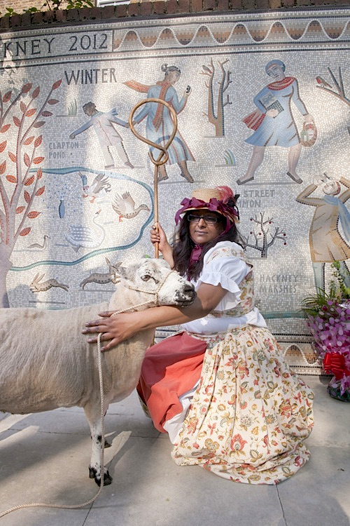 A a Shepherdess and her Sheep in attendance at the unveiling, June 2012. Image via hackneymosaic.tumblr.com