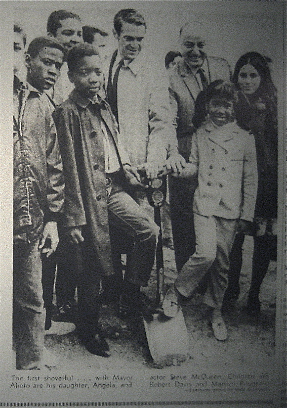 The King of Cool Supports the Pool -  Steve McQueen, Mayor Joe Alioto, and his daughter Angela, attend the groundbreaking with kids from Hunter's Point, 1968.