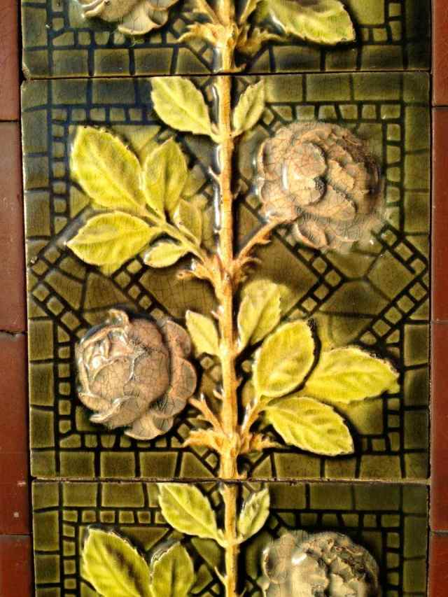 Antique rose tile with chartreuse leaves in Richmond, London