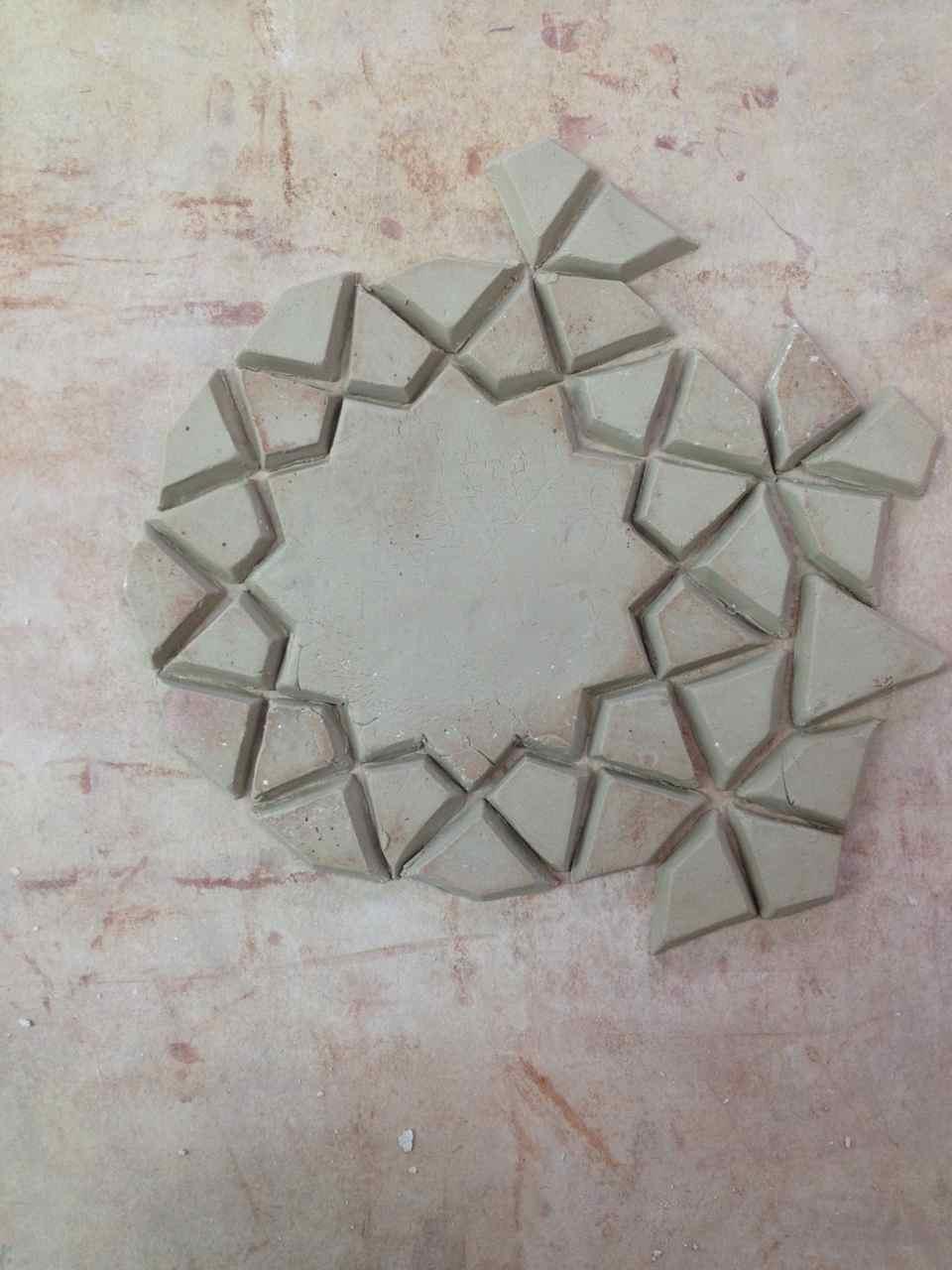 my handmade moulded zillij tile, in progress...