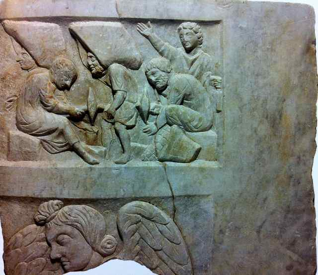 stone masons cut and carry rock for mosaic, from bas relief panel found at Ostia, Antiquarium, Rome, 270-280 AD